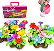 VPRIME Flower Garden Building Toy Gift Set with Carrying Case and Watering Can(105 Pcs) Build-A-Garden, Creati