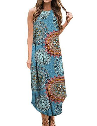 Halife Womens Spaghetti Strap Maxi Dress Sleeveless Floral Casual Loose Cami Long Summer Dress Blue Flower M
