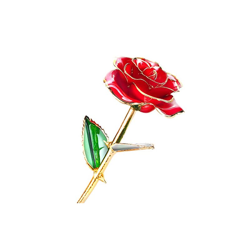 silk flower arrangements 24k gold dipped rose, flower with long stem rose dipped in gold gift for women girls on birthday, valentine's day, mother's day, christmas (red)