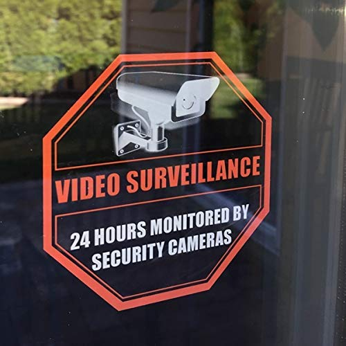 "Printed on adhesive side, (4 Pack) 4"" X 4"" - 24 Hour Monitored By DVR CCTV Security Camera Video Surveillance System - Caution Warning Sign Label Sticker Decal - Front Adhesive Transparent Clear Vinyl"