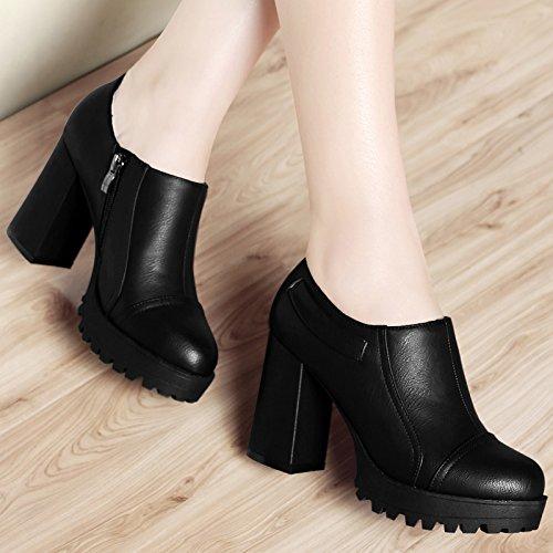 KHSKX-Dicke Sohle Schuh Frühjahr Schuhe Wasserdicht Plattform Tiefe Mund Feuchte Schuhe Runden Kopf Hochhackigen Frauen Schuhe black