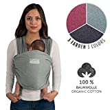 Baby Sling | 100% Natural Organic Cotton Nursing Carrier | Adjustable For Newborns, Infants & Toddlers | Cozy & Soothing Wrap | Hands Free Ergonomic Support | Incl. Wrapping Guide | by Laleni (Green)