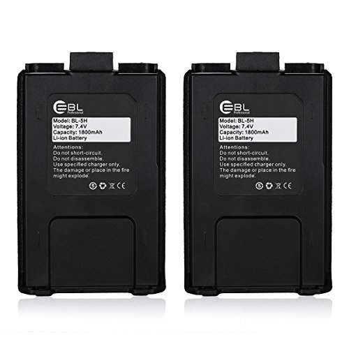 EBL Baofeng UV-5R Two-way Radio Rechargeable Battery (2 Pack, 1800mAh Large Capacity)
