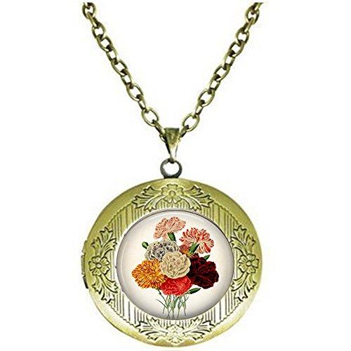 Carnations Carnations Necklace - Carnation Pendant - Floral Pendant Necklace - - Carnation Pendant - Floral Pendant Necklace - Vintage Flower - Flower Locket Necklace