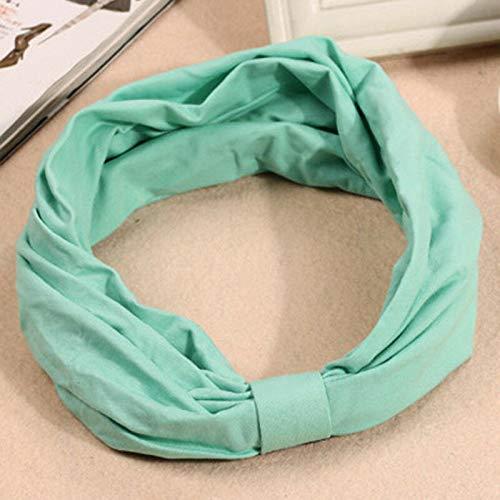 MOPOLIS Women Yoga Elastic Cute Bow Hairband Turban Pure Color Hair Band Headband Bs1   Color - Green