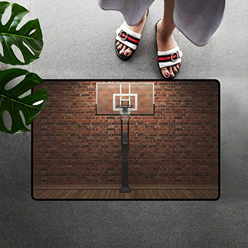 Bohogifts Basketball Absorbent Doormat Old Brick Wall and Basketball Hoop Rim Indoor Training Exercising Stadium Picture Door Mats Rugs Easy Clean for Indoor Entry 16