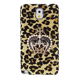 ZXM-Patrón de diseño de la corona Leopard estuche rígido con el Rhinestone para Samsung Galaxy Note N9000 3
