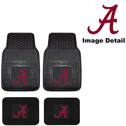 - University of Alabama Crimson Tide College NCAA Collegiate Sports Team Logo Front & Rear Car Truck SUV Vinyl Car Floor Mats - 4PC