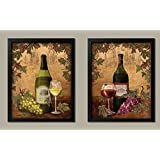 2 Vintage Tuscan White and Red Wine Bottle and Grape Set; Two 11x14in Black Framed Prints, Ready to Hang!