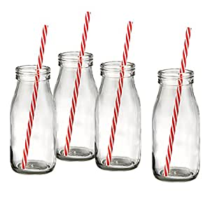 Artland Gingham Milk Bottle Set, Clear
