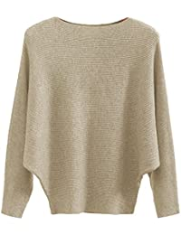 Boat Neck Batwing Sleeves Dolman Knitted Sweaters and Pullovers Tops for Women