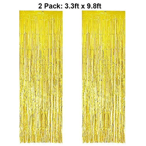 Foil Fringe Curtains Metallic Tinsel Gold Fringe Curtain Photo Booth Backdrop Curtains Decoration for Christmas New Years Eve Birthday Wedding Bachelorette Party Tassel Decor 2 Pack 3.3ft x 9.8ft ()