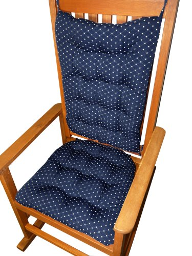 Rocking Chair Cushion Set - Tiffany Navy-Blue Brocade (Diamond Pattern) - Extra-Large Rockers - Latex Foam Fill -