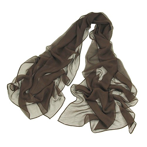 Long Chiffon Sheer Scarf For womens - PANTONIGHT FL001 2018 New Design for All Seasons Shaded Color Lightweight Extra Long Shawl (dark Brown S)