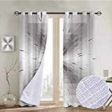 NUOMANAN Window Curtains Silver,Nested Squares with Ombre Lines Optical Illusion Deep Perspective Modern Design,Dimgray Black,Tie Up Window Drapes Living Room 54'x63'