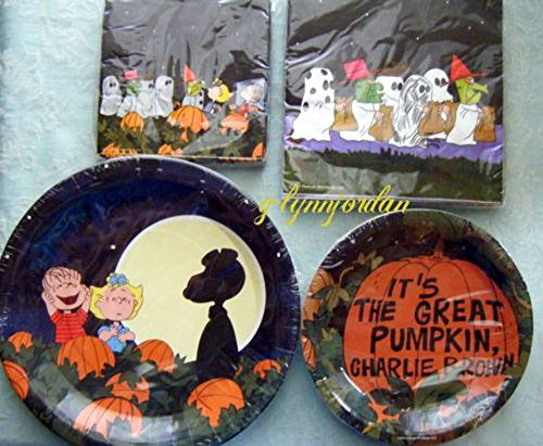 PEANUTS SNOOPY HALLOWEEN PARTY SUPPLIES PLATES NAPKINS TABLECOVER NEW