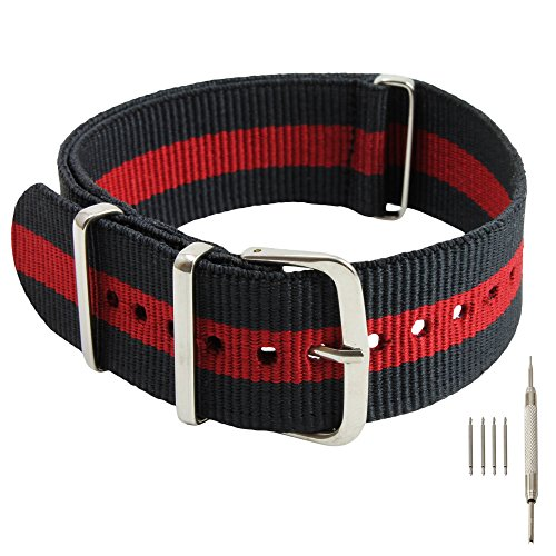 22mm Black-Red-Black Nylon Replacement Watch Strap with Free Installation Kit Including 4 Spring Bars and Removal Tool - [BWC] (Watches Replica)