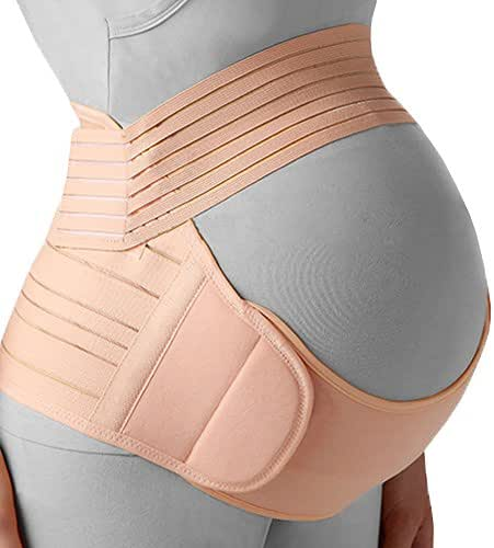 Belly Band for Pregnancy, Pregnancy Belt - Maternity Belt for Back Pain. Prenatal - Pregnancy Support Belt with Adjustable/Breathable Material. Back Support for Pregnant Women. Peach Color/Size M