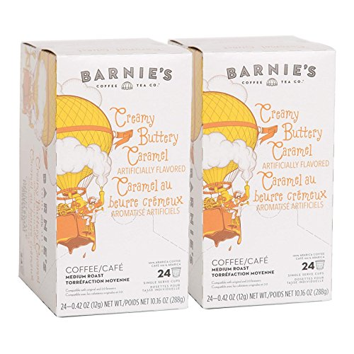 Barnie's Coffee & Tea Creamy Buttery Caramel Single Serve Coffee, K cups for Keurig Brewers, Medium Roast, Arabica Coffe Beans, 2 Boxes of 24 Count