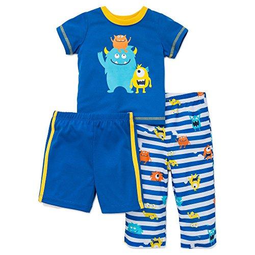 Monster Leg - Little Me Boys Pajamas 3 Piece Sleepwear Monster Shirt Pants Shorts Blue 2T