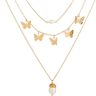 Butterfly Necklace on Gold Paperclip Chain