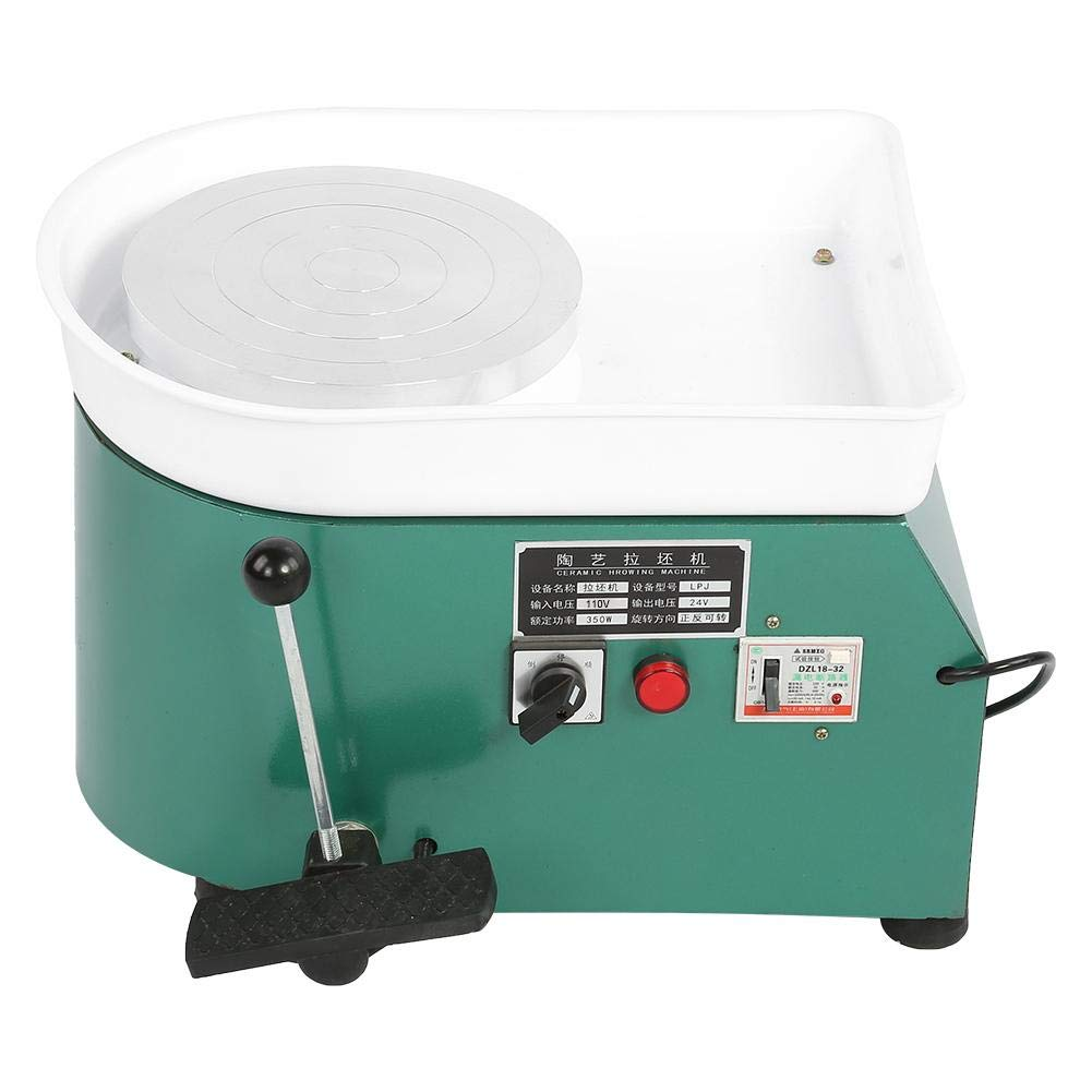 Aufee Pottery Wheel Machine, 350W Green Reliable Pottery Wheel Machine Ceramic Throwing Shaping Tool with Lever Pedal for Teaching, Entertainment(US Plug, 110V)