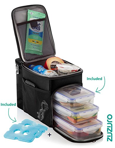 Zuzuro Insulated lunch box cooler bag w/3 compartment - Heavy-Duty Fabric, Strong SBS Zippers - Includes 3 Meal Prep Containers - Detachable Shoulder Strap + 2 Ice Packs. For Men Women Adults (Black)