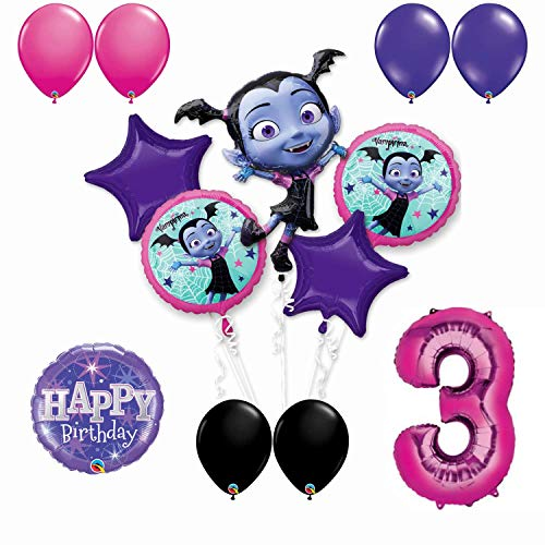 (Vampirina 3rd Birthday Party Balloon Bouquet Bundle for Age 3, Includes 13 Balloons)