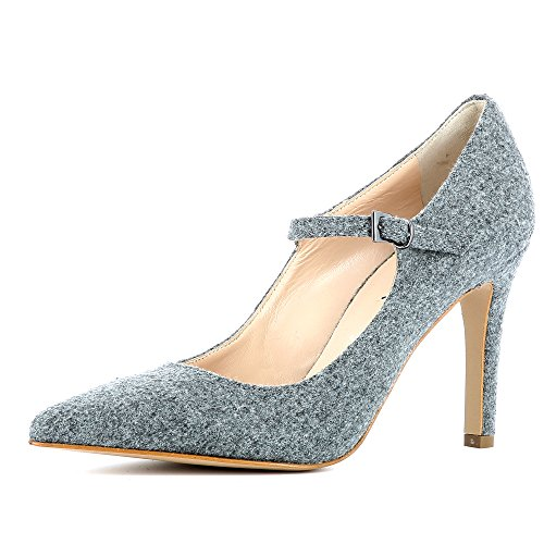 para Evita Fieltro gris Zapatos mujer vestir Shoes Ilaria de de a0r1az