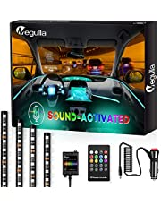 Interior Car Lights, Megulla RGB Multi Color Music Car LED Strip Lights, Waterproof Underdash Lighting Kits with Sound-Activation and Simple Control