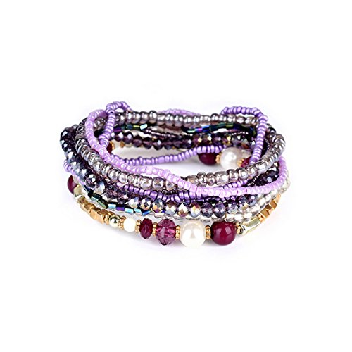 MengPa Beaded Stretchy Bracelets for Women Bohemian Crystal Colorful Multilayer Jewelry ()