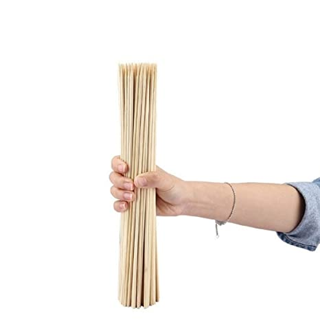 Home REPUBLIC-100pcs / 10 INCH Fruit Bamboo Natural Sticks Disposable Portable Roasting Sticks Cooking Paddle Skewer Bamboo Paddle Pick BBQ Accessories Kitchen Tools Camping