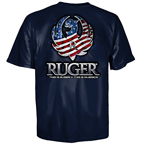 Ruger Sturm (Sturm Ruger & Co Reflection American Flag Eagle Logo Navy T-Shirt (S))