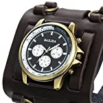 Avaner Mens Retro Steampunk Rock Black Wide Leather Bracelet Cuff Watches Big Face Round Dial Analog Quartz Sport Watch [Upgraded] Japanese Quartz Movement Watch (Brown-1) 11