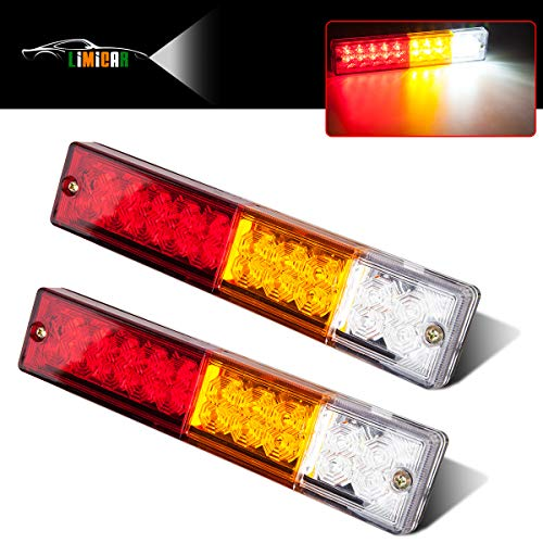LIMICAR 20 LED Trailer Tail Lights Bar Waterproof DC 12V Tail Turn Signal Reverse Brake Running Lights for Truck Trailer RV UTV Camper Red Amber White 2PCS