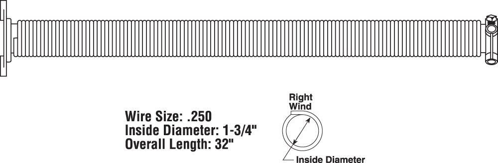 White x 1-3//4 in .250 in Right Hand Wind x 32 in. Prime-Line Products GD 12230 Garage Door Torsion Spring