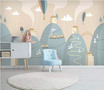 Kids Bedroom Nursery Sky Chimney Animal 3d Wall Mural Photo