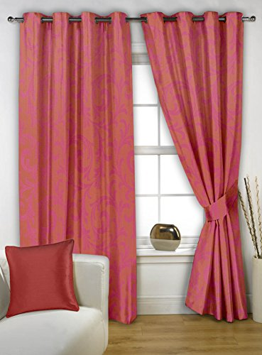 Story@Home 5 feet Set of 2 happiness 2 Piece Contemporary Pattern Polyster Curtains Pink