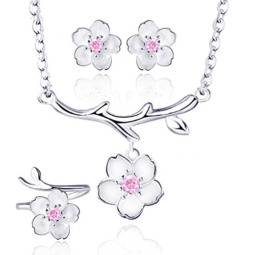 I'S ISAACSONG 925 Sterling Silver Sakura Flower Charm Cubic Zirconia Crystal Pendant Necklace and Earring Jewelry Set for Women and Girl (Pink Cherry Flower Jewelry -