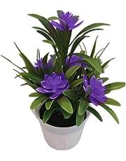 LinSHdi426 Flor Artificial - Artificial Flor de Loto Falso Planta en Maceta Bonsai Fiesta de Bodas Jardín Decoración para el hogar Plantas Artificiales para la decoración casera Interior