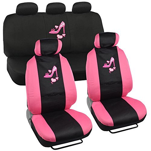 (Lady High Heel Shoe Seat Covers for Car w/ Triple Pink Hearts Auto Accessories Interior Car Truck SUV Combo Kit Gift Set - 9PC)