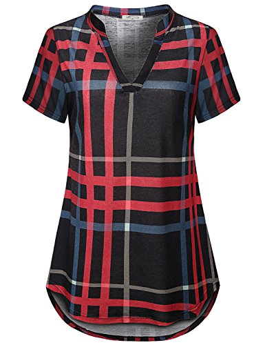 SeSe Code V Neck Tunic Women Tops for Leggings Short Sleeve Shirts for Juniors Plaid Pattern Pretty Swing Polyester Designers Blouses Black and Red -