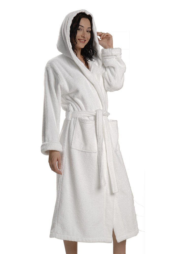 Thirsty Towels Turkish Cotton Robe Hooded Light Presidential Robe for Men and Women- 2XL White