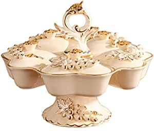 Fruit Bowl European Luxury Fruit Bowl with Cover,Ceramic High-Grade Creative 360 ° Rotating Dried Fruit Basket Living Room Fruit Dish Fruit Bowl