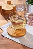 Juvale Bamboo Coasters 6-Pack Set - Absorbent and