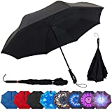 Kyпить Repel Reverse Folding Inverted Umbrella with 2 Layered Teflon Canopy and Reinforced Fiberglass Ribs (Black) на Amazon.com