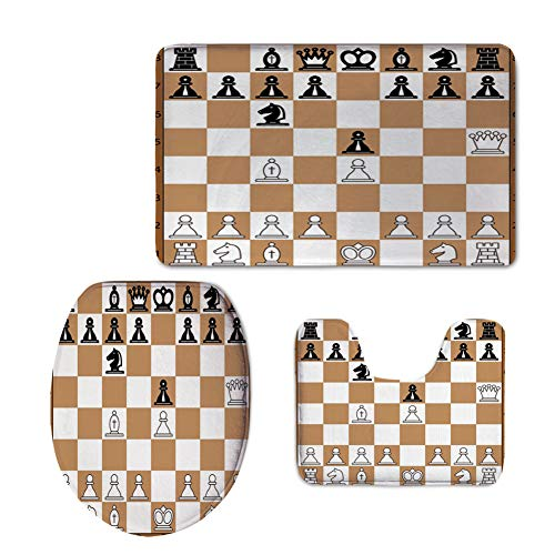 3 Piece Extended Bath mat Set,Board Game,Opening Position on Chessboard Letters Numbers Squares Pieces Print,Brown Light Brown Black (Somerset 3 Light Bath)