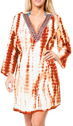 encubrir túnica vestido de la tapa ropa de playa ropa de playa de natación caftán algodón mangas largas kimono del traje de baño de crucero naranja | nosotros: 12w-16w | Reino Unido: 14-18