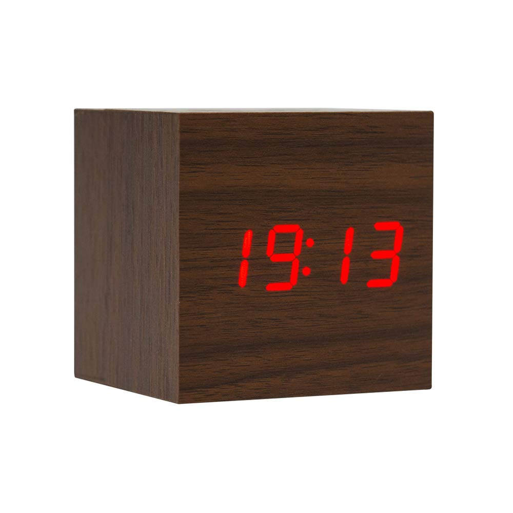 Lanker Sveglia In Legno - Orologio Digitale Mini Cube A Led Con Display Di Data/Ora / Temperatura, Luminosità A 3 Livelli E Controllo Vocale Ideale Per I Viaggi In Ufficio - AC10Brown_Red