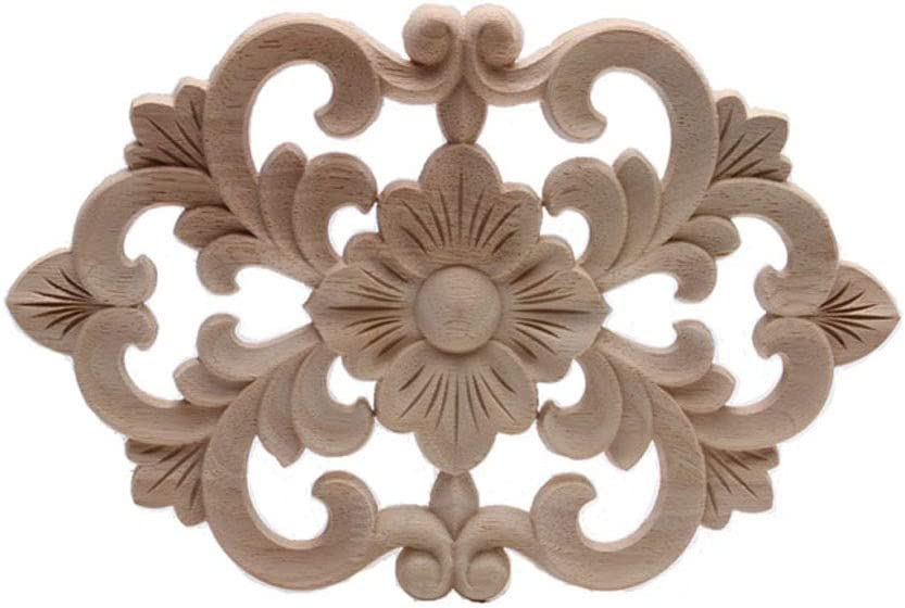4PCS Unpainted Woodcarving Decals Doors Appliques Cabinet Stylish Decor Decal